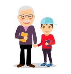 Grandfather and grandson reading books vector image