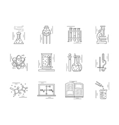 Linear icons collection for chemistry vector image