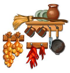 plates mugs pan knife onion pepper on shelves vector image