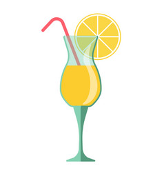 yellow cocktail in glass with lemon slice and vector image