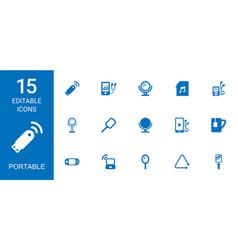 15 portable icons vector