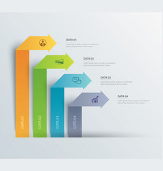 4 data infographics tab paper index template vector image