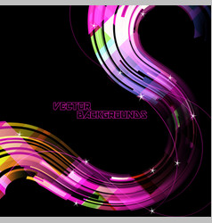 Abstract curved colors on a black scene vector