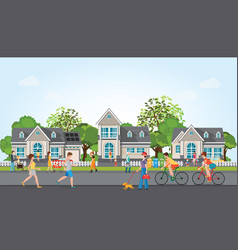 activities of people in modern village vector image