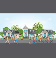 Activities people in modern village vector