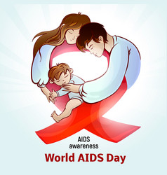 Aids awareness day concept background cartoon vector