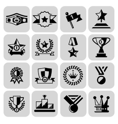 Award icons set black vector image