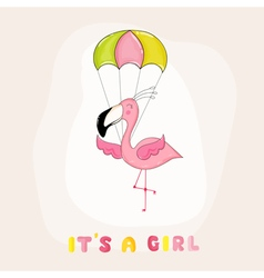 Baby shower or arrival card - flamingo girl vector