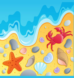 Beach with shells and sea animals 1 vector