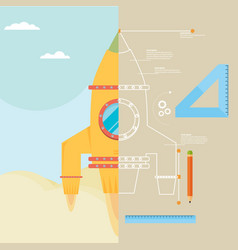 build concept rocket in flat style vector image