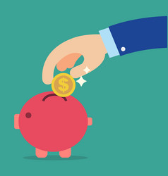 business hand holding coin into red piggy bank vector image
