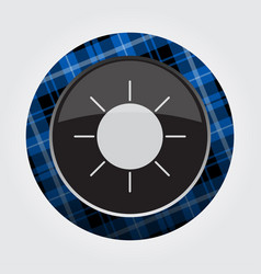 Button with blue black tartan - sun sunny icon vector