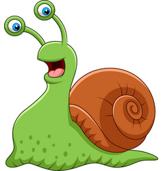 cartoon funny snail isolated on white background vector image