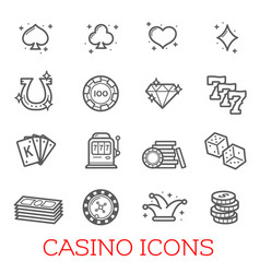 casino symbols set vector image
