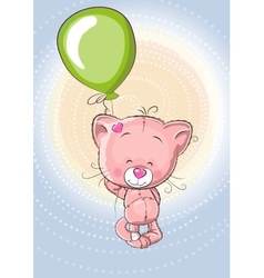 Cat with balloon vector