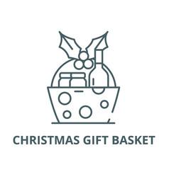 christmas gift basket line icon christmas vector image