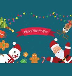 christmas greeting card with christmas icons vector image