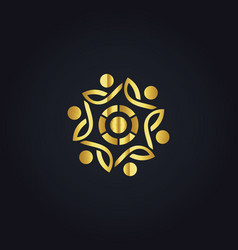 Circle people abstract gold logo vector