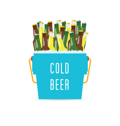 Cold beer in the bucket vector