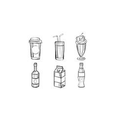 collection beverages soda drink milkshake vector image