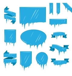Collection frozen icicle snow winter vector