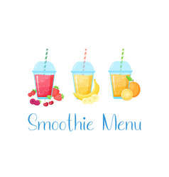 colorful natural fruit smoothie colection graphic vector image