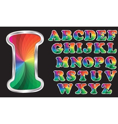 Colorful rainbow alphabet with silver frame vector image