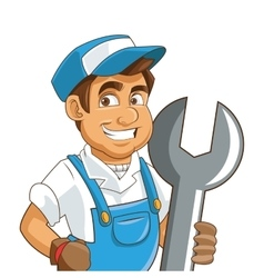 Construction or industrial worker holding wrench vector