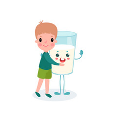 cute boy hugging humanized glass of milk with vector image