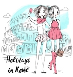 Cute cartoon girls in sketchy style vector image