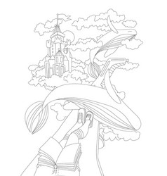 Cute hand draw coloring page with dreaming girl vector