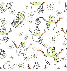 cute snowmen repeated in winter holiday pattern vector image