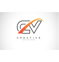 Cv c v swoosh letter logo design with modern vector