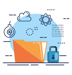 data center security with folder vector image