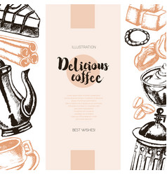 delicious coffee - color hand drawn composite vector image