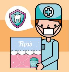Dentist boy oral hygiene dental floss banner vector