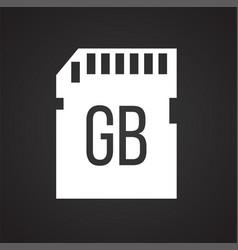 Digital camera sd card icon on black background vector
