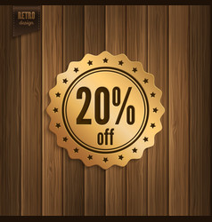 Discount badge on wooden background vector