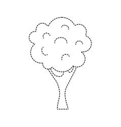 Dotted shape nature tree with trunk and branch vector