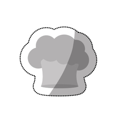 Dotted sticker of chefs hat in cloud shape vector