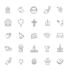Easter icons set Christianity icon set vector