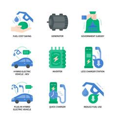 Electric vehicle icon set vector