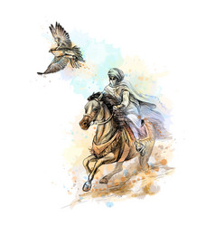 Falcon hunting arabian man with a falcon and a vector