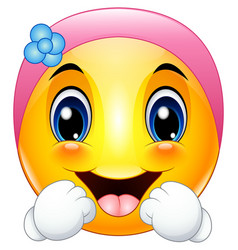 female emoticon cartoon wearing a headbands vector image
