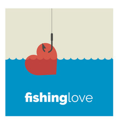 Fishing love vector