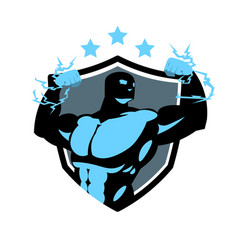 fitness center logo with silhouette bodybuilder vector image