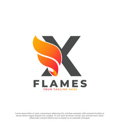 Flame with letter x logo design fire logo template vector