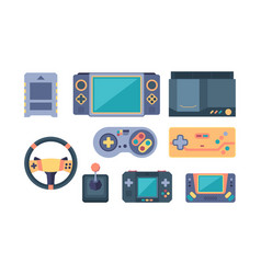 Game console video gaming devices 80s retro vector