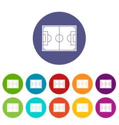 Goal post icons set flat vector