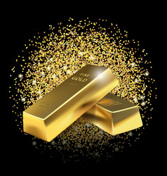 Gold bars on glitter dust background vector